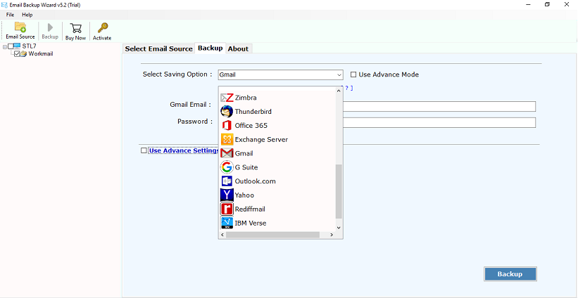 Migrate Amazon WorkMail to Gmail Account Using Email Backup